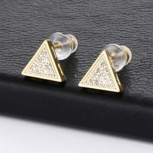 Золото Серебро Цвет Triangle серьги стержня Медь Циркон Камень Глаза Shaped серьги для женщин Personality Oorbellen уха ювелирных изделий
