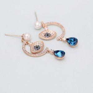 Korean hot sale luxury zircon eye rose gold earrings jewelry temperament sexy women inlaid zircon s925 silver needle pearl high-end earrings