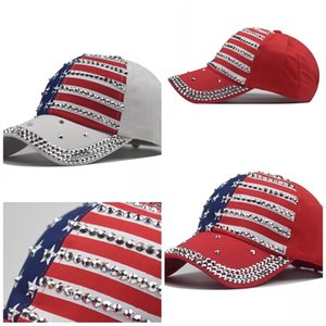 Mens Women Caps Printing Trump Hats Rhinestone Baseball Cap Embroidery USA National Flag Fashion Red Blue White 10 9nx F2