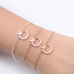 Outline Hollow divertente geometrica Carino catena Frutta Mela fascino braccialetti dei braccialetti per i regali scuola Mentor Insegnante Donne di laurea