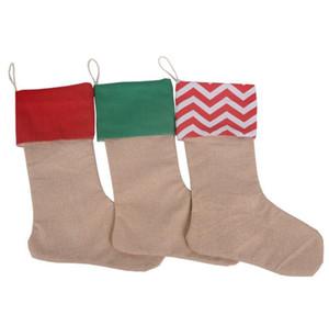 Yüksek Kalite Tuval Noel Çorap Hediye Çanta Tuval Noel Yılbaşı Büyük Beden Düz çuval bezi Dekoratif Çorap Çanta 12 * 18inch çorap