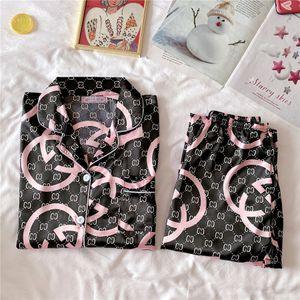 New Luxurious Silk Satin Couple Pajamas Set Long Sleeve Trousers Flower Printed Sleepwear Women Mens Silk Pyjamas Set Plus Size 3XL T1910#722