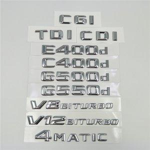 Lettres Chrome Emblem Badges Logo Pour Mercedes Benz E400d C400d G500d G550d AMG 4MATIC CDI CGI TDI V8 Biturbo V12 Biturbo