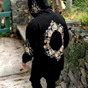 Long Sleeve Big Pocket Mens Hoodies Casual Males Mulit Styles Clothing Rose Embroidery Mens Designer Hoodies Fashion