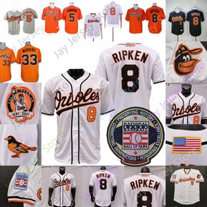 Cal Ripken Jersey Brooks Robinson Eddie Murray 2001 Baseball Hall of Fame Patch Oraneg Nero Bianco Pullover Button