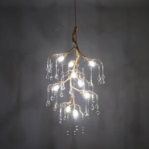 Yaratıcı G4 LED Altın / Gümüş Kristal Su Damlası Avizeler Hall Lobi Loft Retro Altın Şube Işık Damla Lamba Aydınlatma Asma