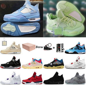 Mit Box OFF White Nike Air Jordan 4 Retro 4 4s Jumpman Stock x Frauen Herren Basketballschuhe Cream Sail Guava Ice Union Turnschuhe