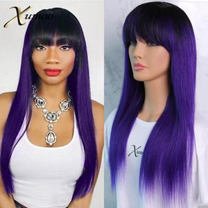 XUMOO Straight Human Hair Wigs Purple Red Green Blue Ombre Remy Hair Colored Human Wigs Full Machine Made For Women