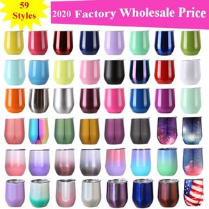 12oz Wine tumbler Stainless Steel Wine Glasses Egg Cups Colourful Stemless Wine Glasses with Lid Shatterproof Vacuum Egg Shape Free shipping