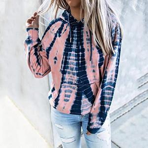 Womens Hoodies Outono e Inverno Europa e América Casual solto vestido estilo Tie-dye Impresso com capuz manga comprida
