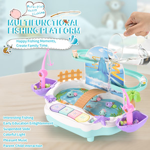 Every family education magnetic fishing toys boys and girls 1-2-3 years old electric can add water slide fishing