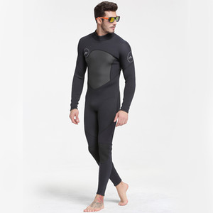 Factory Wholesale New 3mm Wetsuit Men'S Wet-Type One-Piece Warm Snorkeling Suit Long-Sleeved Cold Surfing Winter Swimsuit