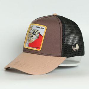 Kemikler De Beisebol 5 Paneli Gri Pamuk RAP1 Karikatür Siyah İşlemeli Hip Hop Trucker Mesh Hat Caps