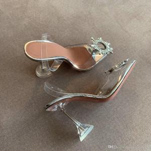 TOp Mükemmel Kalite Amina Ayakkabı Begum Kristal-süslenmiş TPU Slingback Muaddi restocks Begum Yüksek topuk arkası açık iskarpin 10cm / 3.5cm / düz pompaları