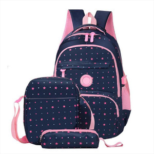 3 Pieces Set School Bags for Girls Waterproof Nylon Star Patterned Kids Bookbag Laptop Teen Girl School Backpack Mochila Escolar