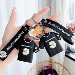 Creative Korean Fashion Daisy T-shirt Keychain Silicone Keyring Key Chain Car Key Bag Pendant Trinket Ring Women Men Gift