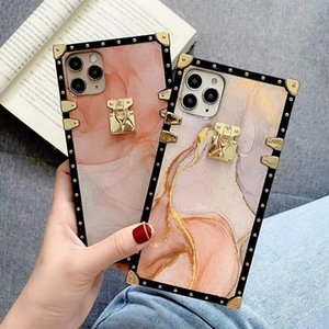 Square Plating Marble Pattern Back Shell for Samsung S20 Note10 Note8 Note9 M10S A10S A20S A30S A40S A50S A60 A70 M30S M20 M21