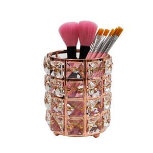 Makeup Brush Holder Organizador de cristal Bling personalizado ouro Comb Brushes Pen Pencil Caixa de armazenamento Container JK2009PH