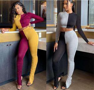 Teiliges Set Schlank Sports Set Mode Damenmode Stacked Designer Frauen Tracksuits Gelegenheits Panelled Kontrast Frauen Zwei