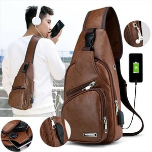 New Fashion Mens Polyester Small Strap Chest Pack Messenger Bag USB Charging Pockets Sports Travel Bags hot sale