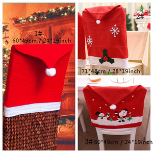 Santa Claus Hat Chair Covers Christmas Decorations for Home Party Merry Christmas Dining Table Xmas Decor Chair Back Sash 8 Styles BC BH4124