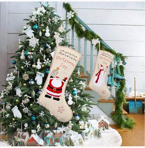 Arpillera bordado calcetines de la Navidad 46 * 18cm niños y regalo de Santa muñeco de nieve de caramelo bolsa de arpillera Diseño del bordado de la media de Navidad decorativo