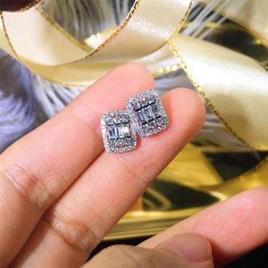 مسمار جودة عالية مربع الأبيض الزركون القرط للنساء دفع عودة حفل زفاف الاشتباك مجوهرات هدية