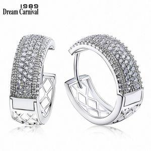 DreamCarnival 1989 New Arrivals Big Hoop Earrings for Women Rhodium Color Half White Cubic Zirconia Brinco Argola Moda SE24114 Pufk#