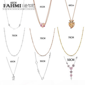 FAHMI 100% 925 Sterling Silver Peach Blossom Lioness Hearts Arrow Fresh and Elegant Charm Women's Necklace Free Shipping