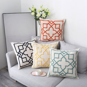 Cushion Cover Decorative Pillow Case Modern Luxury Simple 3D Geometric Linen Thread Embroidery Sofa Chair Coussin Decor