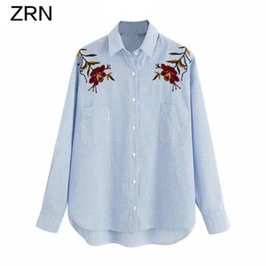 ZRN Women 2020 New Fashion Vintage Striped Shirt Embroidery Floral Blouse Autumn Blusa Pockets Button-up Female Shirts Chic Top