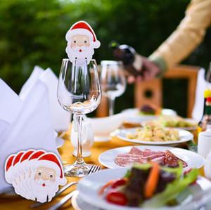 10pcs / lot Cartão Decoração do ornamento Ano Novo Partido Cup Cartões de Natal Tabela Home Place decorações do Xmas de Santa Hat vidro de vinho Supplies DHL