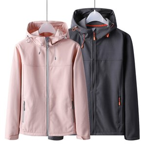 Outdoor Soft Shell Raincoat Jacket Men and Women Autumn and Winter Hoodie Thick Warm Fleece Sports Windproof Waterproof Coat