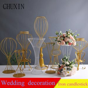 Wedding props artificial flower stand gold wrought iron flower arrangement road lead party wedding layout main table decoration