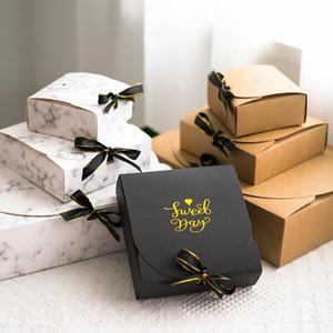 1 개 크리 에이 티브 간단한 대리석 스타일의 선물 상자 창조적 인 크래프트 종이 DIY 선물 가방 사탕 상자 가와이이 파티 용품