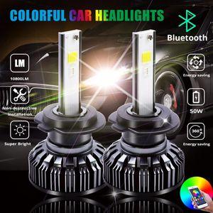 RGB COB LED Headlight H4 H7 LED Car Headlight Bulbs H1 H3 H11 H13 880 9005 9006 9012 APP Bluetooth Control Multi-color 25W