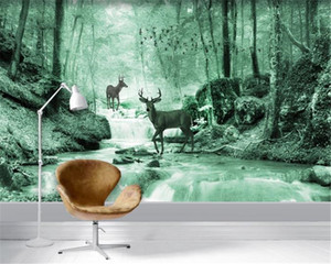 American Vintage 3d Wallpaper VNordic Fantasy Forest Sika Deer Background Wall Living Room Bedroom Decoration Mural Wallpaper