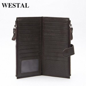 Wholesale WESTAL Genuine Leather Men Standard Wallets Man Double Zipper Wallet Mens Purse Clutch Bag Male Cowhide Leather Wallet 8057 3nfx#