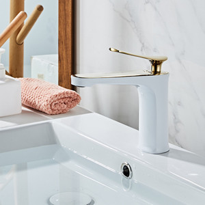 Bathroom Basin Faucets White and Gold Brass Sink Water faucet Single Hole Cold and Hot Water Tap Basin Faucet Mixer Tap Torneira