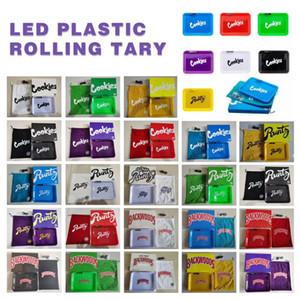 Bac de rouleau lumineux LED 282 * 212mm 6 couleurs rechargeable biscuits éclairés de biscuits plastiques pour support de plateau de rangement à tabac sec