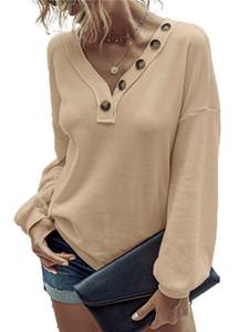 Женская Дизайнерская Кнопки Лоскутная T-Shirt Повседневная Brief с длинным рукавом V-образным вырезом Дамы Тис моды Сыпучие Весна Осень Женщины одежда
