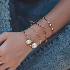 Find Me Geometric Alloy Square Bracelets Imitation Pearl Opening Bracelet Set for Women 2020 Fashion Jewelry Accessories