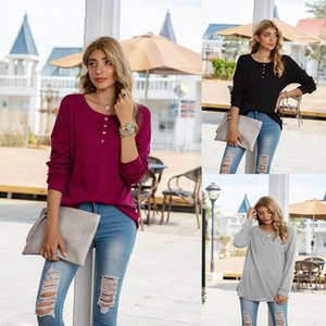 2020 Autumn and Winter New Burst Women's Clothing Europe and The United States Hot Selling Solid-colored T-shirt Round Collar Button-top.