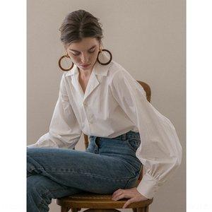GMQjr D05lO French Top shirt Lantern top white sense niche lapel temperament ins lantern collar design V-neck suit sleeve shirt for women