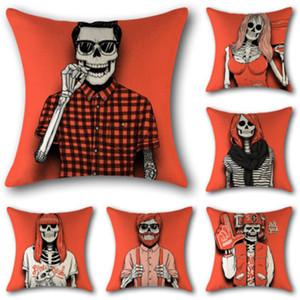 Decoração de Halloween roupa de cama macia Início Pillowcase Crânio Pillowcase Quarto e Office Hotel Car fronha decorativa Tamanho 45x45