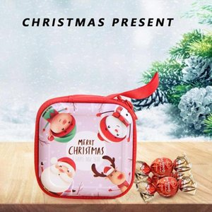 Cartoon Tinplate Square Xmas Candy Bag Purse Coin Wallet New Year Child Gifts Christmas Decorations for Home