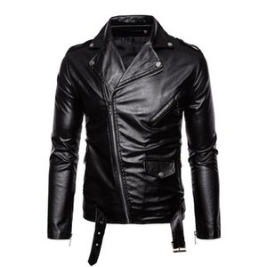 Autumn Winter Pu Zipper Biker Faux Leather Jacket Men Fashion Motorcycle Washed Retro Leather Jackets European Size Mens Coats