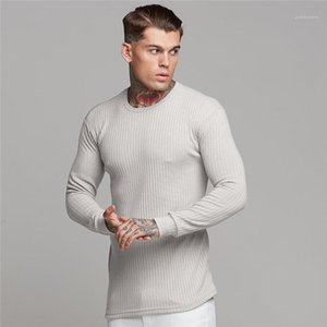 Long Sleeve Crew Neck T Shirts Males Clothing Mens Designer Active Tees Fashion Striped Panelled Tees Casual