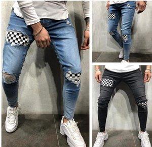 Spring Autumn Designer Pantalones Street Skateboard Pencil Pants Mens Pencil Jeans Knee Broken Hole