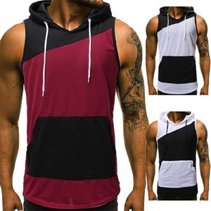 Panelled Color Tank Tops Casual Crew Neck Sleeveless Hooded Tank Tops Summer Mens Tank Tops Fashion